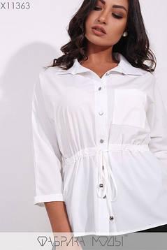 Модная молодёжная белая блуза с кулиской на талии  батал  48-56 размер, фото 2