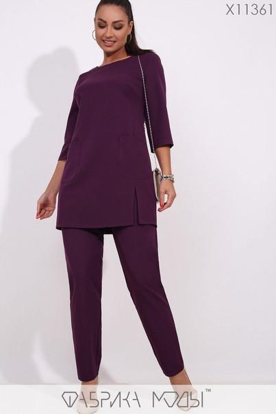 Женский повседневный костюм-брюки и удлинённая блуза батал с 48 по 62 размер