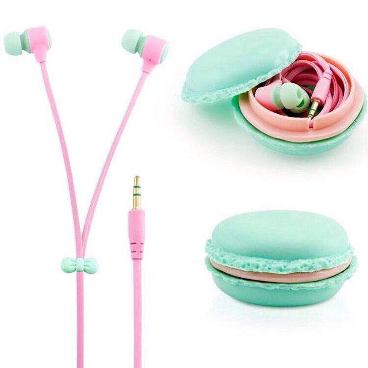 Наушники  для Iphone, Ipad, Samsung, Lenovo в чехле Макаруны, ментоловые с розовым