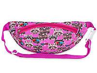 Поясная сумка-бананка розовогоцвета с принтом для девочек