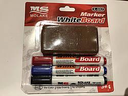 Набор цветных маркеров для белых досок 3 шт
