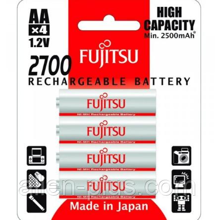 Комплект аккумуляторов (4 шт) Fujitsu AA 1,2V 2700mAh (min 2500mAh) HR-3UAEU(4B) Ni-MH