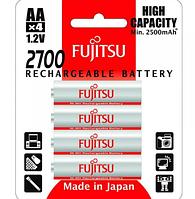Комплект аккумуляторов (4 шт) Fujitsu AA 1,2V 2700mAh (min 2500mAh) HR-3UAEU(4B) Ni-MH, фото 1