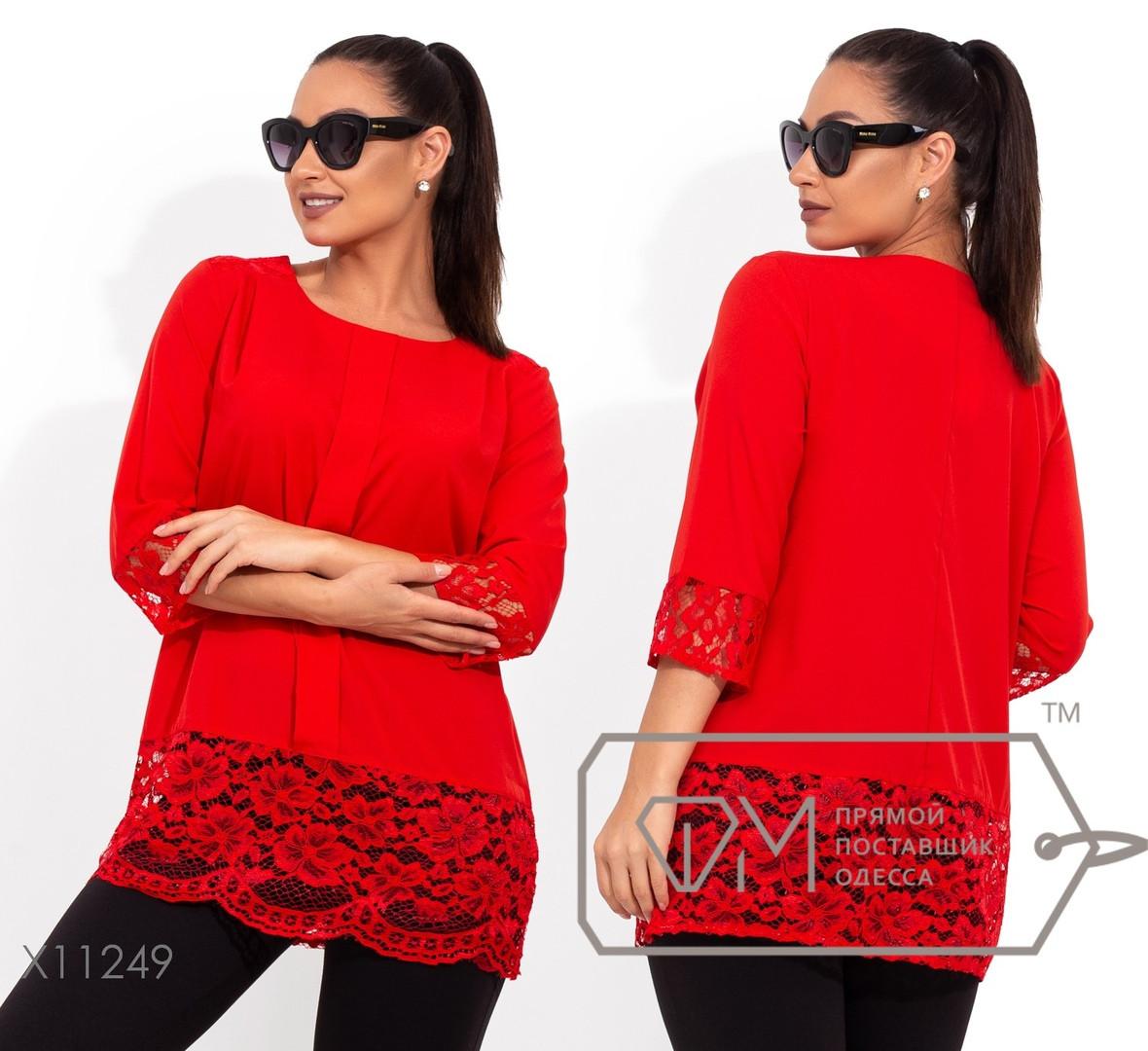 Модная женская блуза прямого кроя украшенная кружевом по низу  батал 48-62 размер