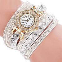 Модные женские часы-браслет со стразами (Белые)