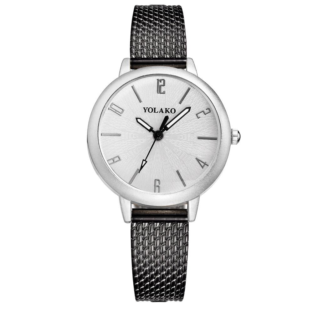Стильные наручные женские часы YOLAKO с тонким черным ремешком