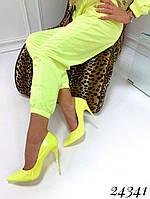 Туфли  женские  лодочки  желтые  шпилька  10,5 см