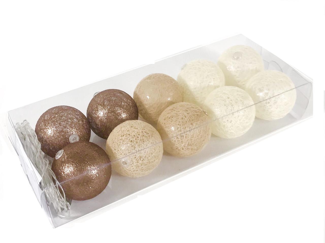 Гирлянда тайские шарики Liryc Cotton Balls 10led, диам 6см, длина 235см на батарейках АА