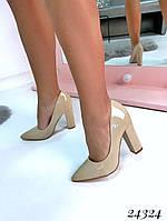 Туфли  женские  демисезонные бежевые на устойчивом  каблуке  10 см