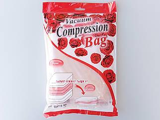 """Размер 80*110 см. Вакуумный пакет с клапаном для упаковки и хранения одежды ароматизированный """"Роза""""."""