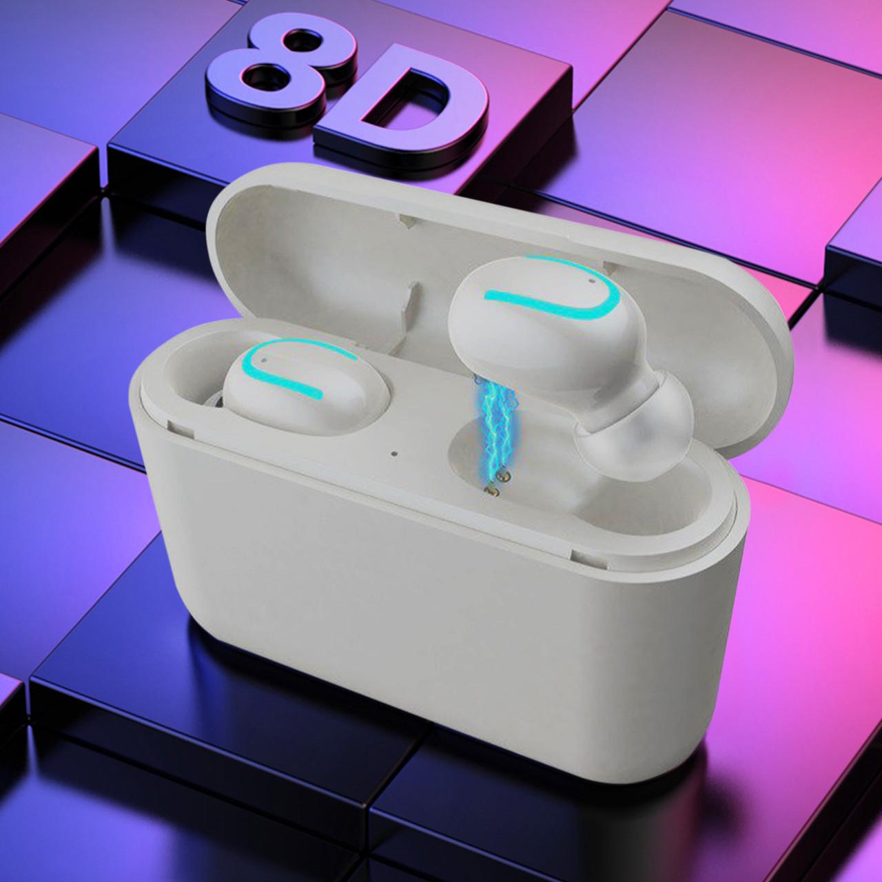 ПоверБанк + Наушники беспроводные  HBQ Q32 Mini TWS. Супер басс! Цвет Белые