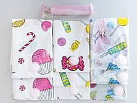 Набор вакуумных пакетов 3-х размеров с насосом и рисунком из 8 штук с клапаном для упаковки и хранения одежды