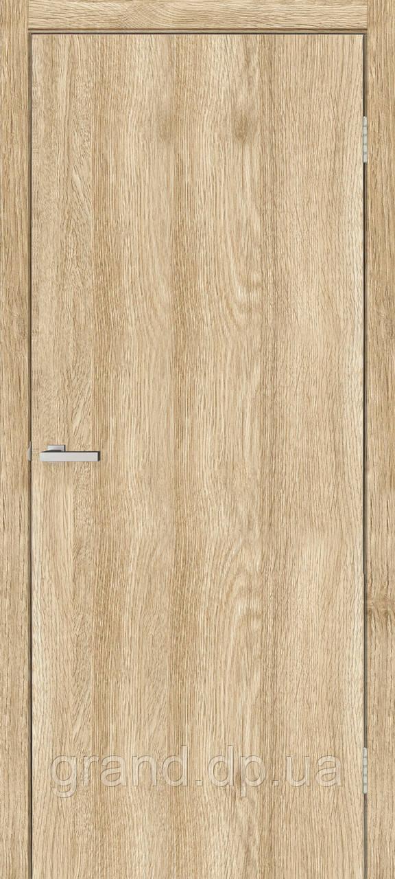 Двери  межкомнатные Гладкая глухая экошпон,  цвет дуб саванна