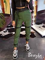 Женские брюки карго с ремешками и накладными карманами 66SH364E, фото 1