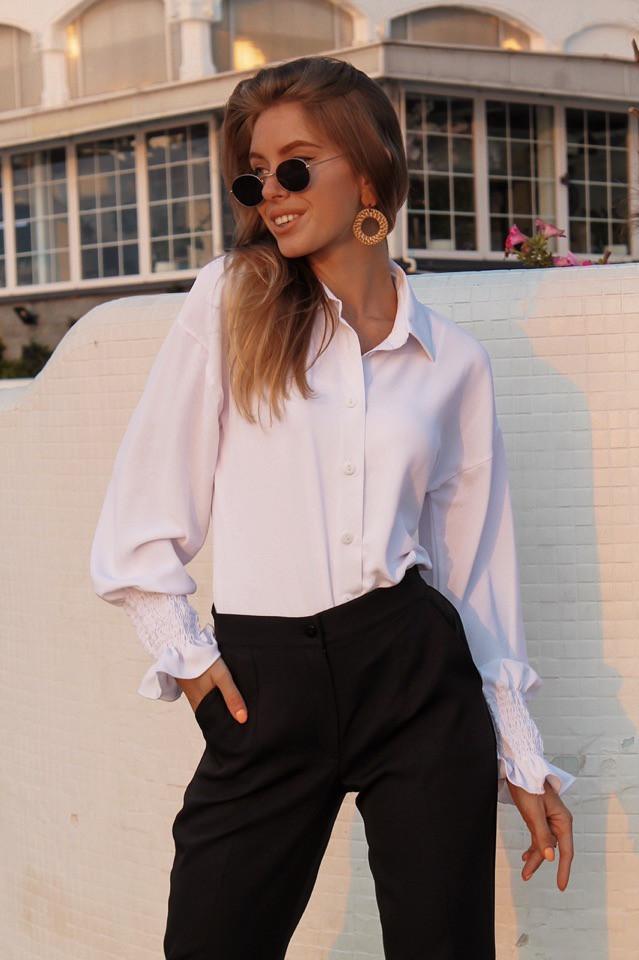 Женская прямая рубашка классического стиля с резинкой на рукавах 73ru275