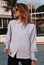 Женская прямая рубашка классического стиля с резинкой на рукавах 73ru275, фото 4