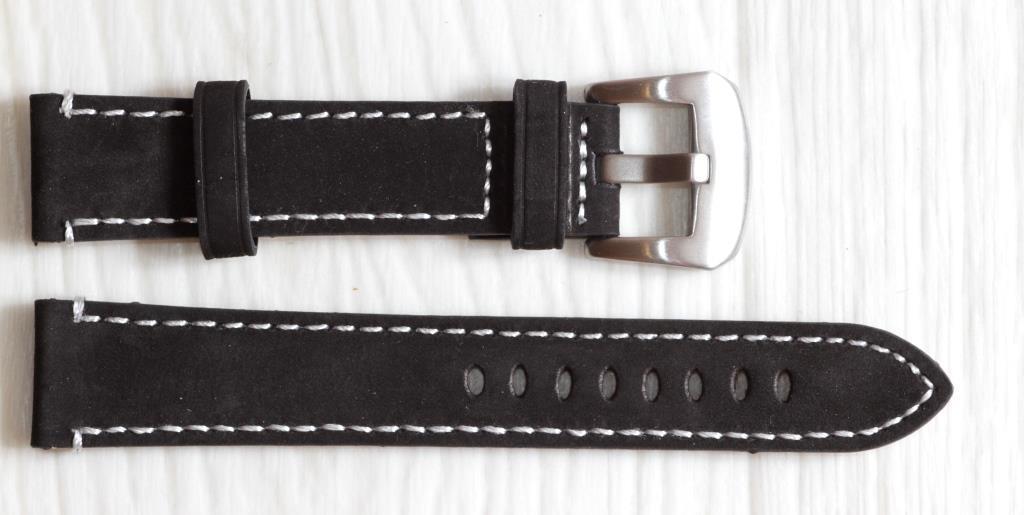 Ремешок для часов BROS (ИТАЛИЯ) из натуральной кожи. Черный 20 мм