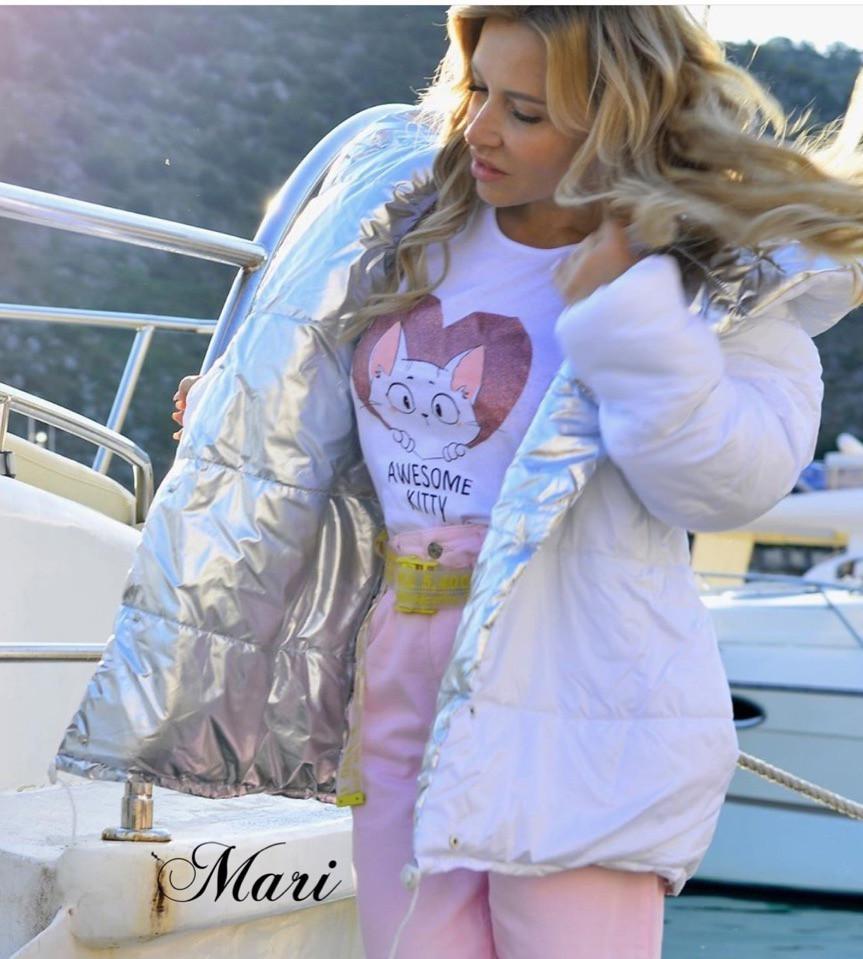 Короткая демисезонная куртка зефирка двухсторонняя с металликом 63kr101