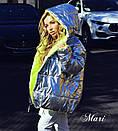 Короткая демисезонная куртка зефирка двухсторонняя с металликом 63kr101, фото 3