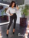 Женский брючный костюм с полосатой рубашкой и зауженными штанами 66ks113Q, фото 2