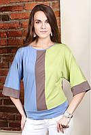Блузка женская свободного кроя зелено-голубого цвета, рукав до локтя.