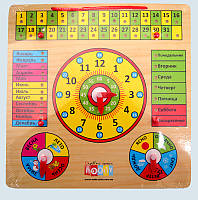 Детская Деревянная игрушка Часы Технок MD0004 календарь, 2 вида, рус/укр 30*30см