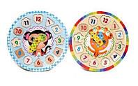 Детские Деревянные часы MD1251 рамка вкладыш, 27см, 5 видов, 27*27*1см