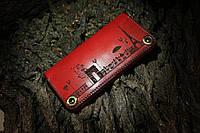 Кошелек из натуральной кожи Paris ручная работа красный