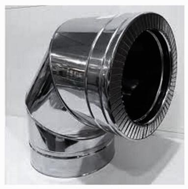 Колено 90° из нержавеющей стали в оцинкованном кожухе Версия-Люкс