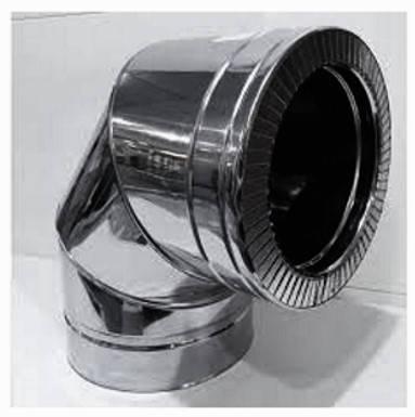 Колено 90° из нержавеющей стали в оцинкованном кожухе Версия-Люкс, фото 2