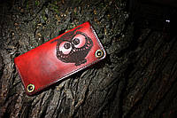 Кожаный кошелек Сова красный женский