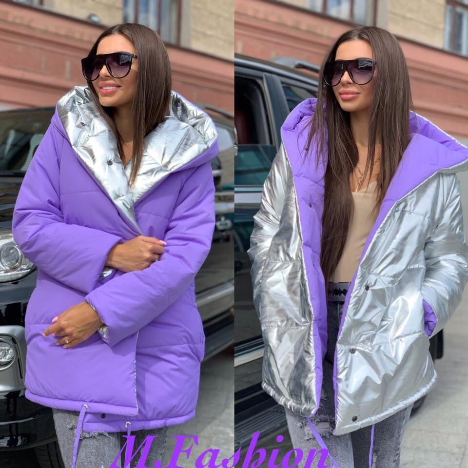 Женская куртка зефирка двухсторонняя с капюшоном и одной металлизированной стороной 71ki102