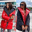 Женская куртка зефирка двухсторонняя с капюшоном и одной металлизированной стороной 71ki102, фото 3