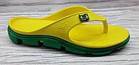 Кроксы, вьетнамки жёлтые / зеленая подошва. Размеры 37, 38, 39, 40. JoAm 118224.