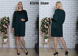 Прямое трикотажное платье большого размера с вставками экокожи 6uk118