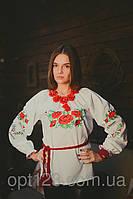 Модная женская вышитая сорочка с маками длинный рукав