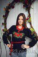 Качественная женская вышиванка сорочка вышитая маками