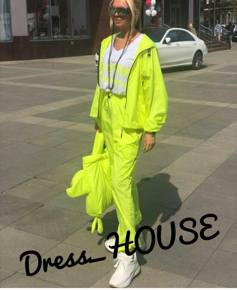 Женский спортивный костюм из неоновой плащевки свободный 5spt687