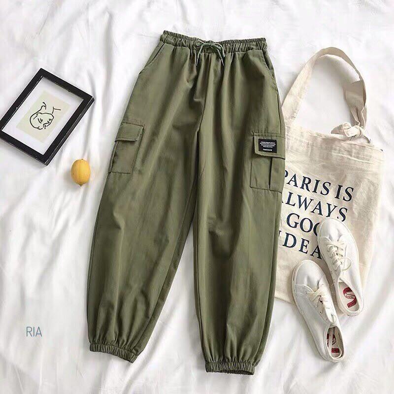 Спортивные женские брюки джоггеры с накладными карманами 77bil367