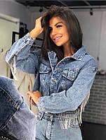 Жіноча коротка джинсова куртка з бахромою на спині 68mku104, фото 1