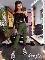 Женский брючный костюм с брюками карго и топом на молнии с ремешками 66mko105E, фото 1