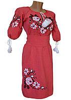 Женское вышитое  крестиком  платье Лен р.42 - 60
