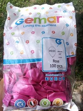 """Шар воздушный GM90 10"""" 26см #033 розовый металлик 100шт Gemar"""