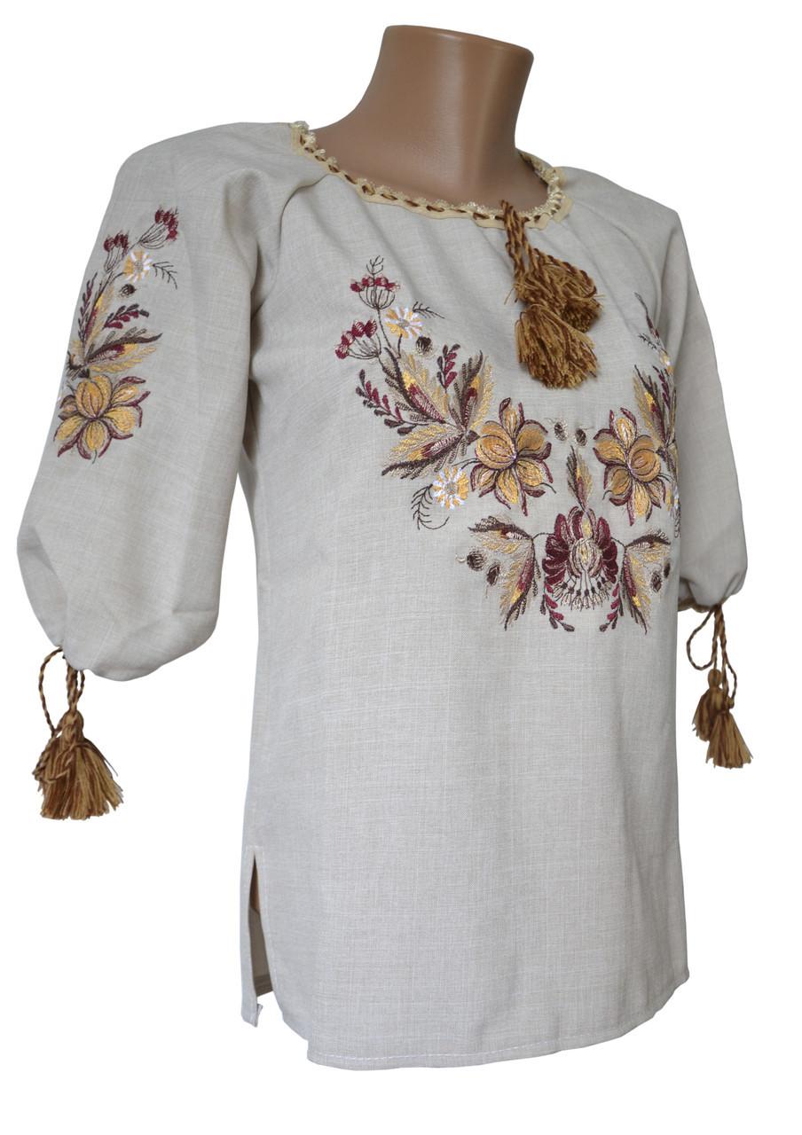 Женская Вышитая рубашка вышиванка  Лен Поле  р.46 - 60