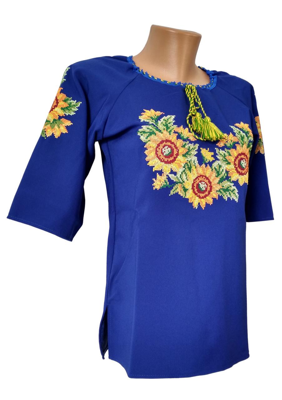 Женская рубашка вышиванка Синяя  р.46 - 60