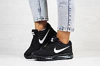 Подростковые кроссовки Nike 8186 чёрные с белым, фото 1