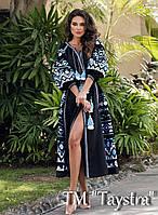 Черное платье вышитое, вышиванка лен, этно стиль бохо шик, вишите плаття вишиванка, длинное платье в пол