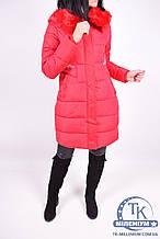 Пальто женское (цв.красный) из плащевки зимнее 1738 Размер:46