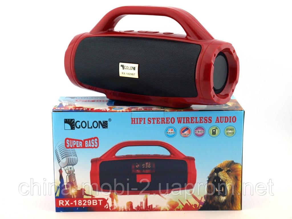 Golon RX-1829BT BoomBox 12W, портативная колонка с Bluetooth FM и MP3, красная