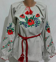 Роскошная вышитая сорочка ткань лен украшена красивыми цветами